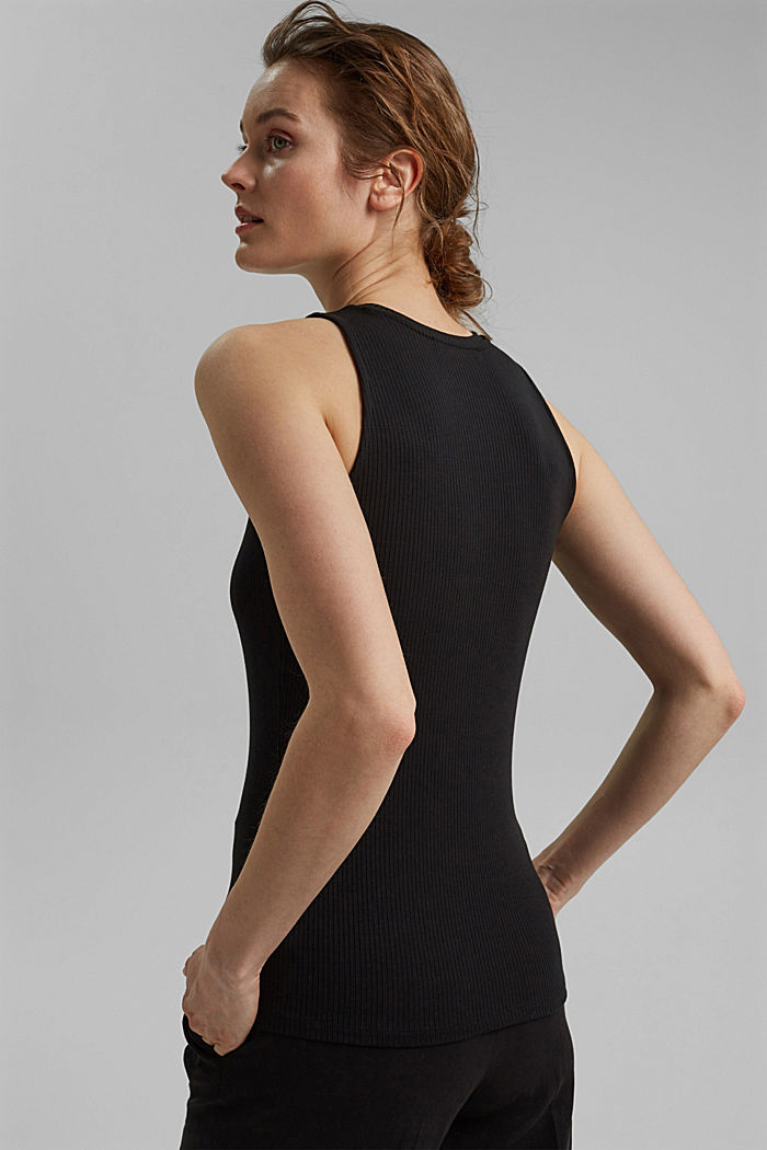 Made of TENCEL™ stretch: ribbed top, BLACK, detail image number 3