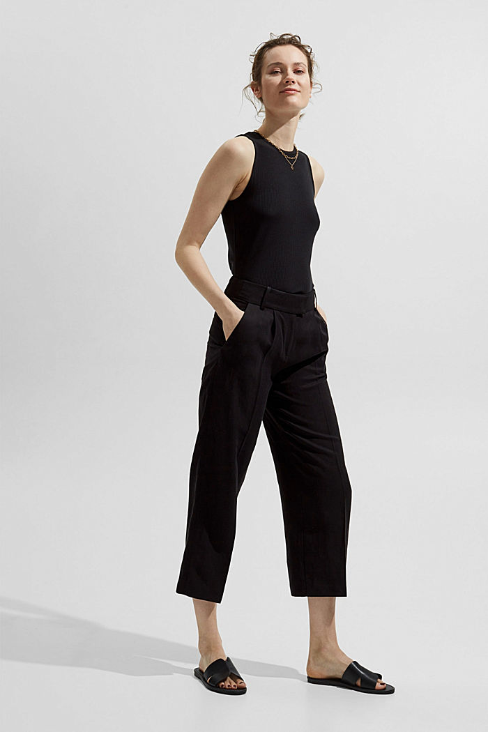 Made of TENCEL™ stretch: ribbed top, BLACK, detail image number 1