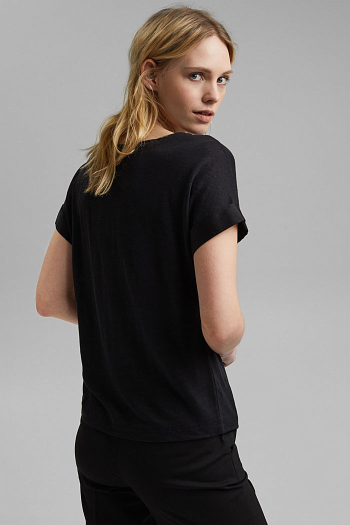 Linen: T-shirt with contrasting trims, BLACK, detail image number 3