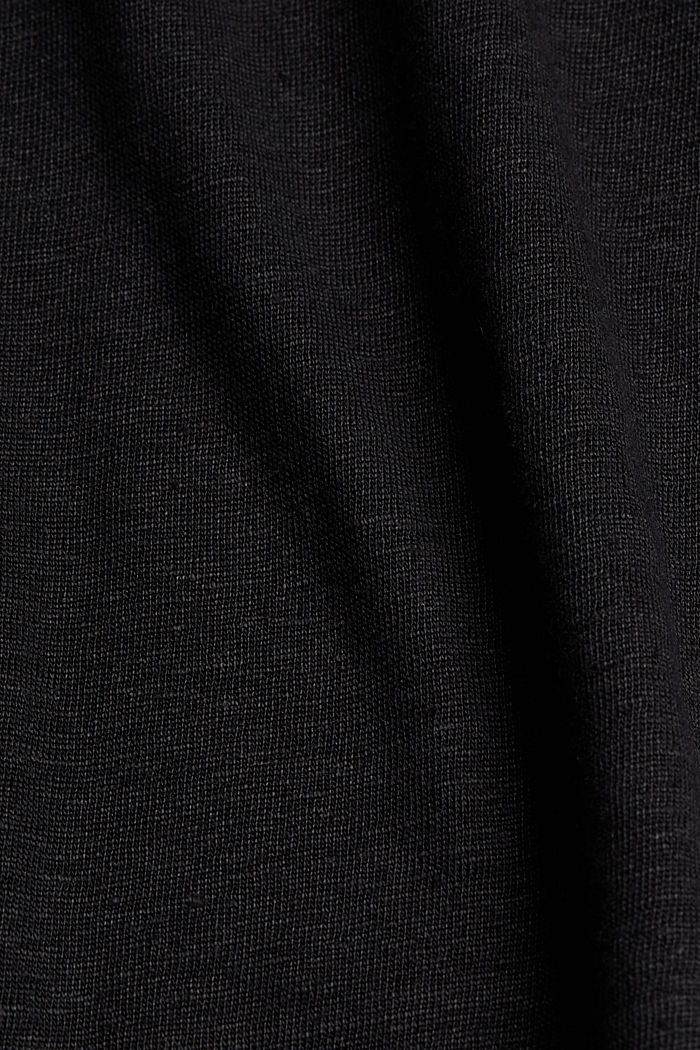 Linen: T-shirt with contrasting trims, BLACK, detail image number 4