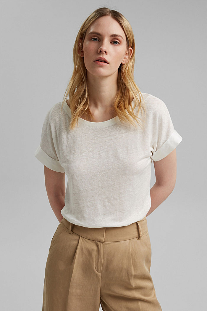 Linen: T-shirt with contrasting trims, OFF WHITE, detail image number 0