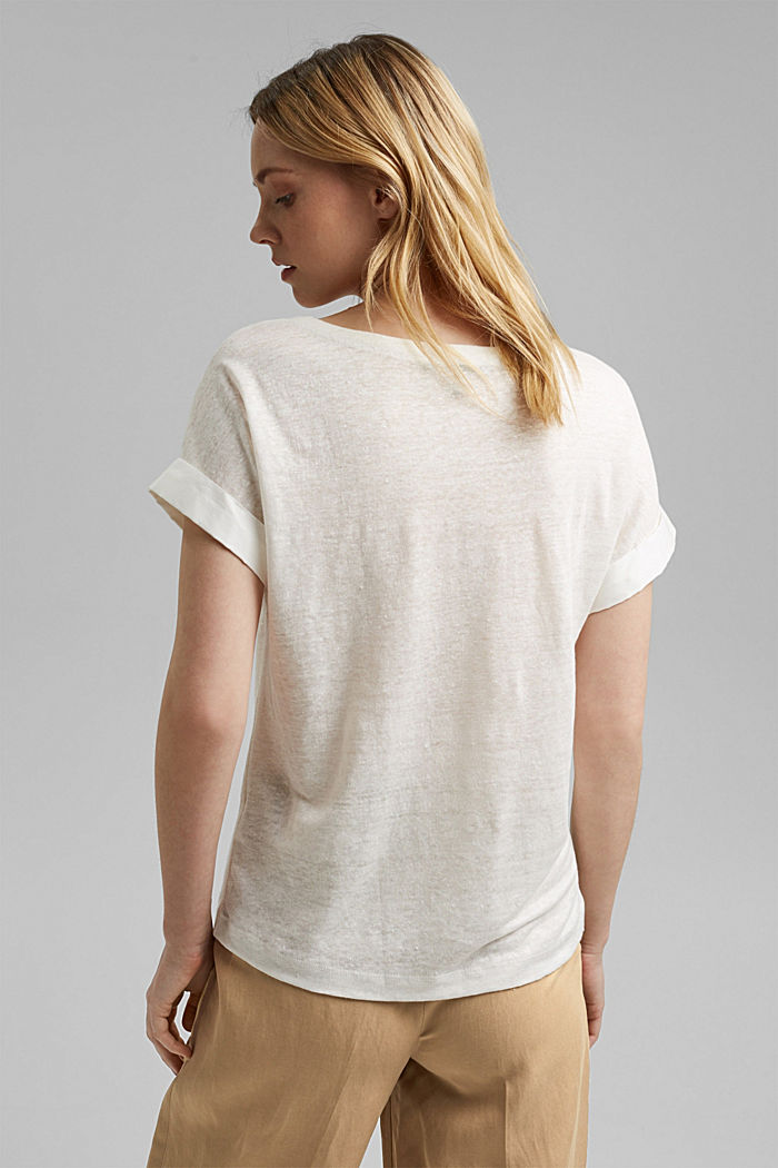 Linen: T-shirt with contrasting trims, OFF WHITE, detail image number 3