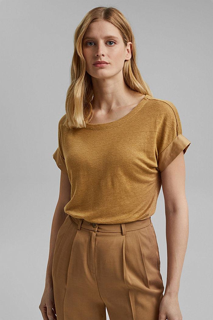 Leinen: T-Shirt mit Kontrastblende, BARK, detail image number 0
