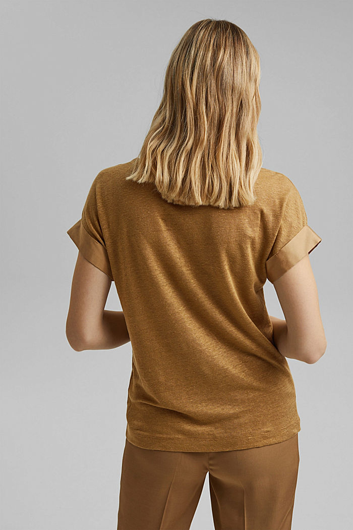 Linen: T-shirt with contrasting trims, BARK, detail image number 3