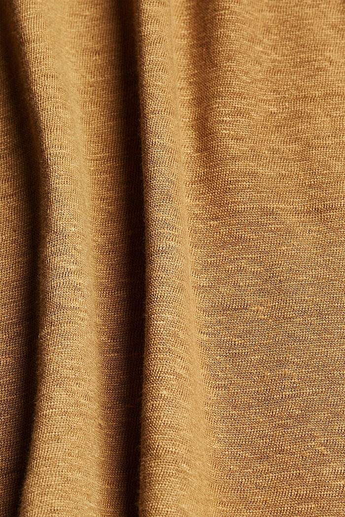 Linen: T-shirt with contrasting trims, BARK, detail image number 4