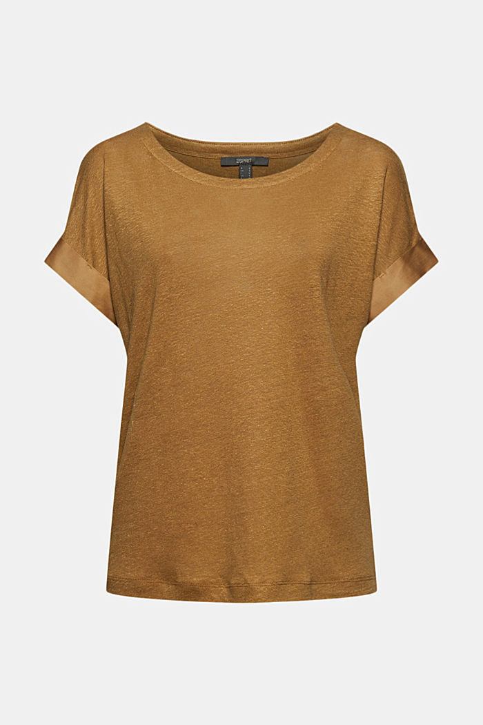 Linen: T-shirt with contrasting trims