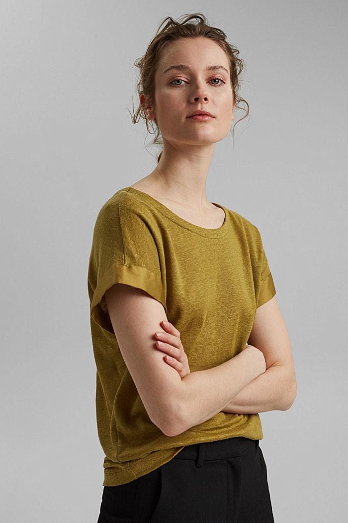 Leinen: T-Shirt mit Kontrastblende, OLIVE, detail image number 0