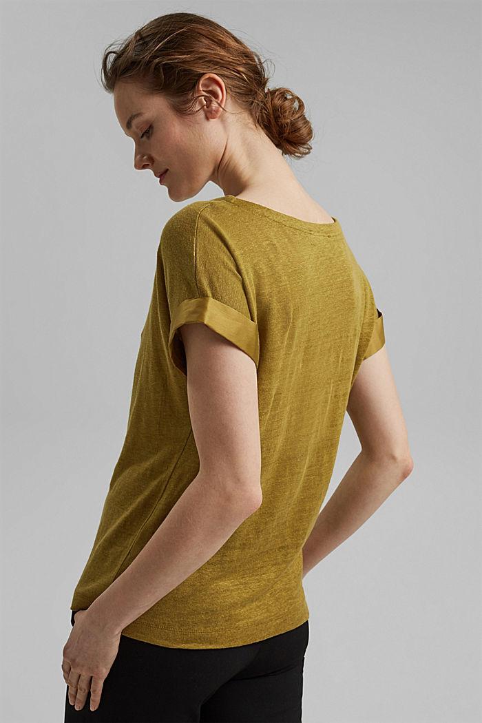 Leinen: T-Shirt mit Kontrastblende, OLIVE, detail image number 3