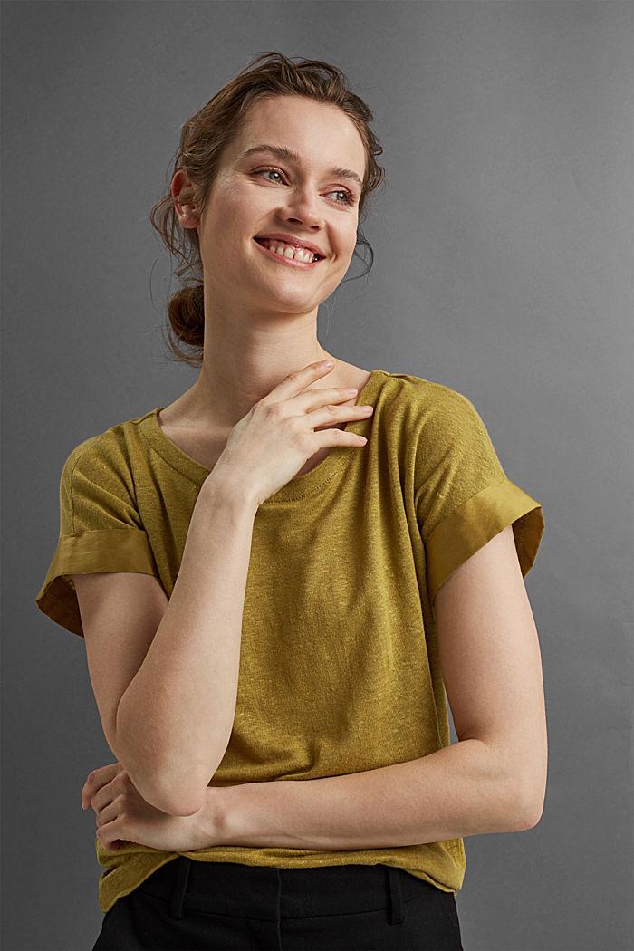 Leinen: T-Shirt mit Kontrastblende, OLIVE, detail image number 5