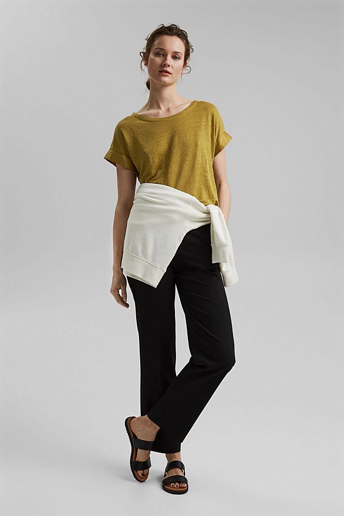 Leinen: T-Shirt mit Kontrastblende, OLIVE, detail image number 1
