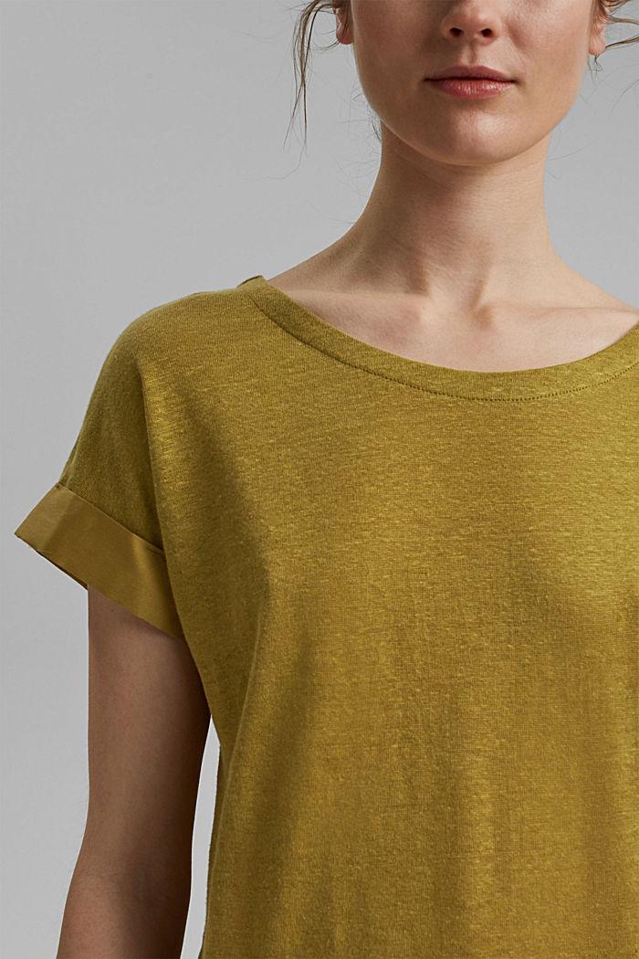 Leinen: T-Shirt mit Kontrastblende, OLIVE, detail image number 2