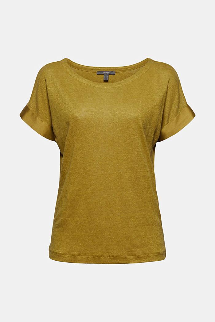 Leinen: T-Shirt mit Kontrastblende, OLIVE, detail image number 6