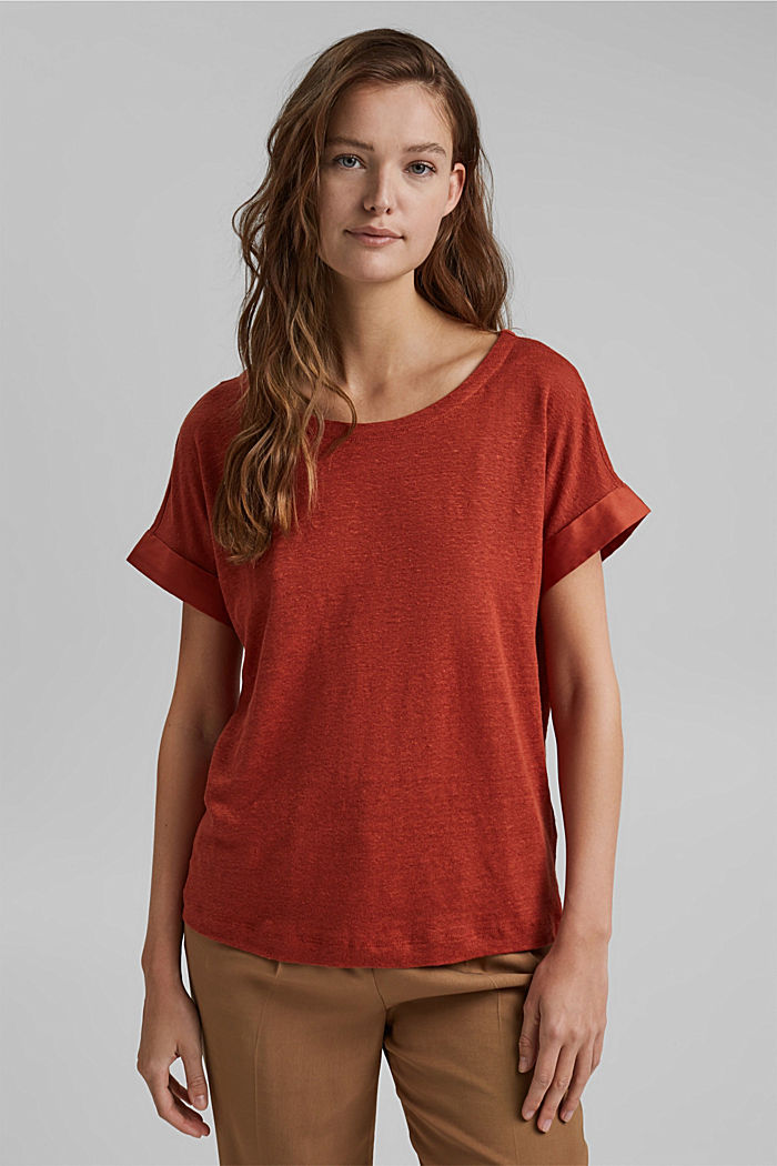 Linnen: T-shirt met contrasterende boord