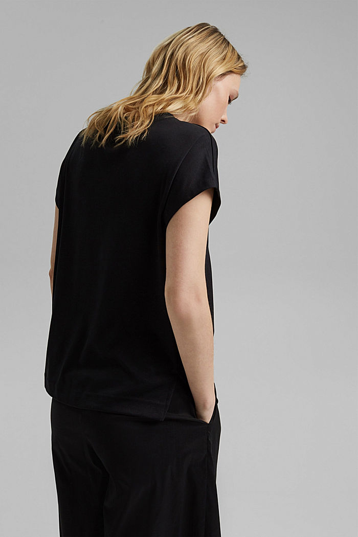 Containing TENCEL™: V-neck T-shirt made of interlock jersey, BLACK, detail image number 3