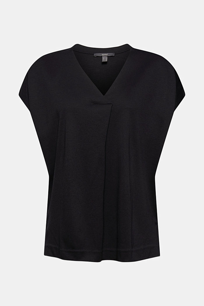Containing TENCEL™: V-neck T-shirt made of interlock jersey, BLACK, detail image number 7
