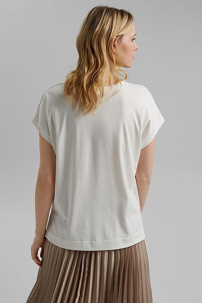 Mit TENCEL™: V-Neck-Shirt aus Interlock-Jersey, OFF WHITE, detail image number 3