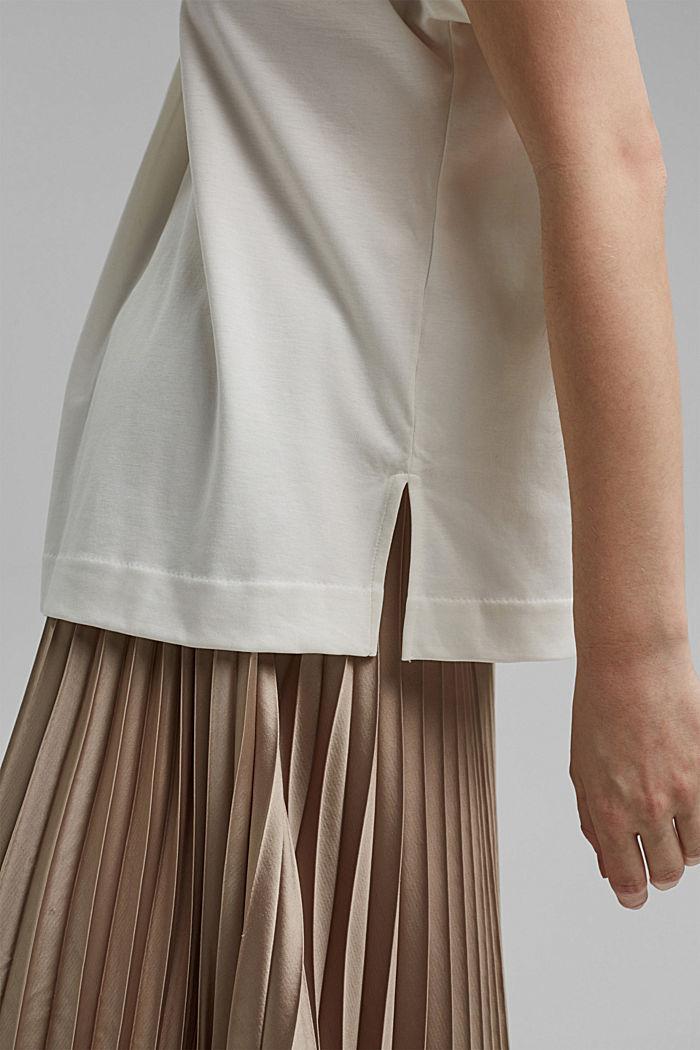 Mit TENCEL™: V-Neck-Shirt aus Interlock-Jersey, OFF WHITE, detail image number 5