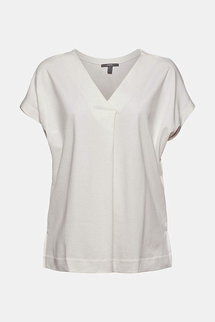 Mit TENCEL™: V-Neck-Shirt aus Interlock-Jersey