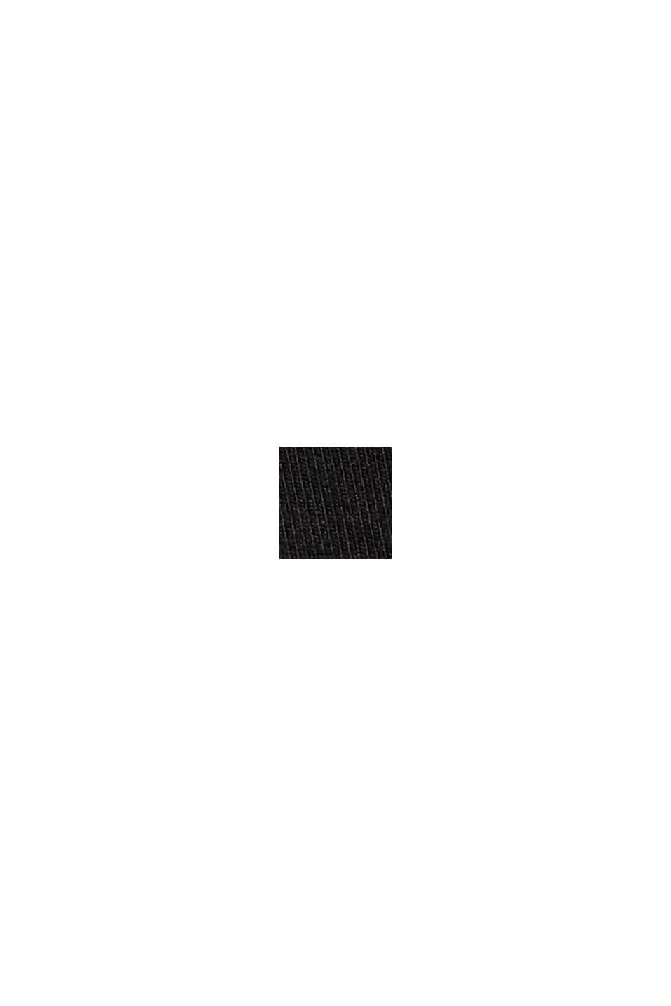 Jersey-Top mit Satinblende, BLACK, swatch