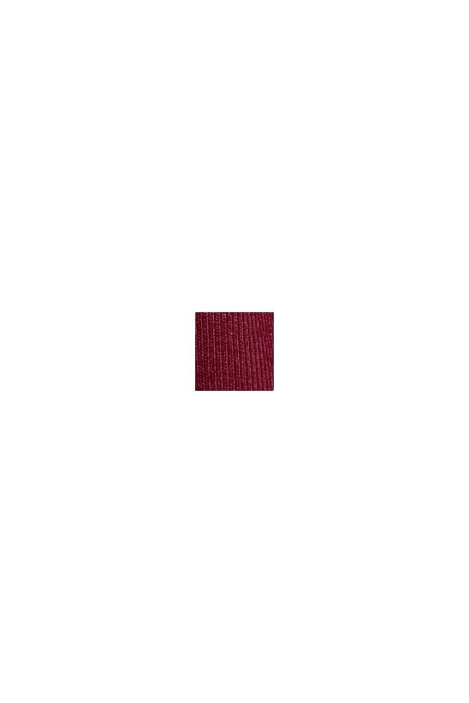 Jersey-Top mit Satinblende, BORDEAUX RED, swatch