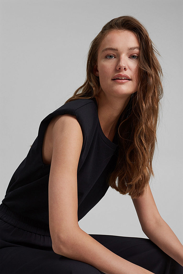 T-paita olkatoppauksilla 100 % luomupuuvillaa, BLACK, detail image number 5