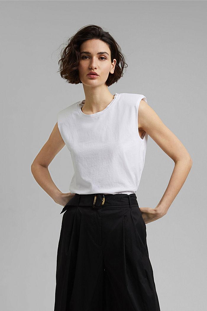 T-Shirt mit Schulterpolstern, 100% Bio-Baumwolle, WHITE, detail image number 0