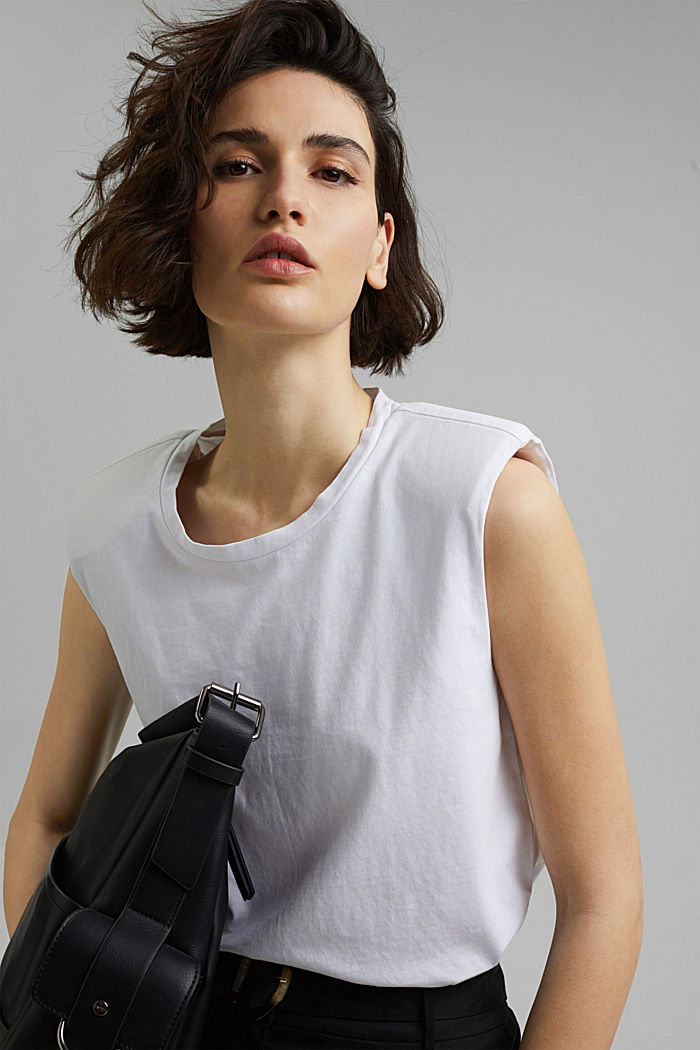 T-Shirt mit Schulterpolstern, 100% Bio-Baumwolle, WHITE, detail image number 5