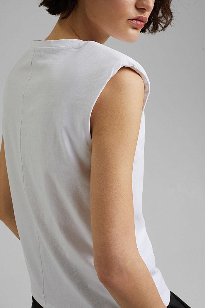 T-Shirt mit Schulterpolstern, 100% Bio-Baumwolle, WHITE, detail image number 2