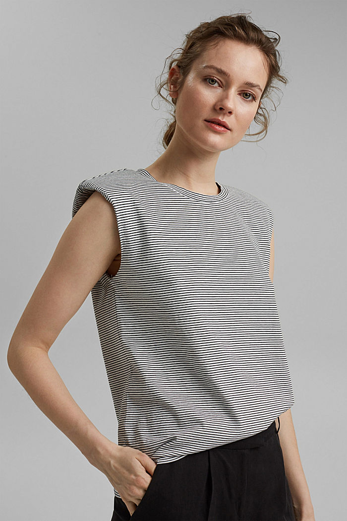 T-shirt with shoulder pads, 100% organic cotton, OFF WHITE, detail image number 0