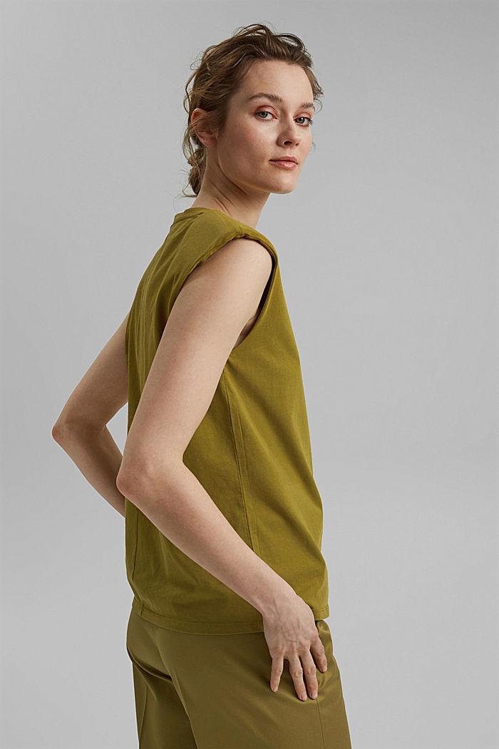 T-shirt met schoudervulling, 100% biologisch katoen, OLIVE, detail image number 3