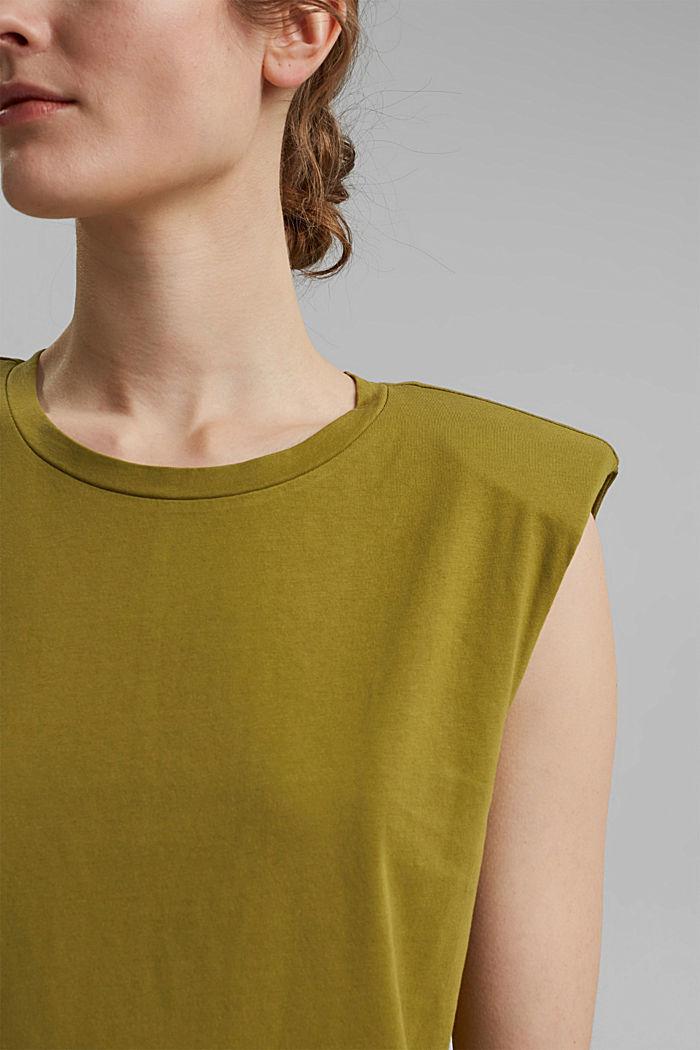 T-shirt met schoudervulling, 100% biologisch katoen, OLIVE, detail image number 2
