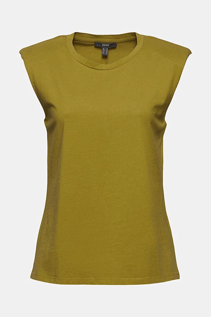 T-shirt met schoudervulling, 100% biologisch katoen, OLIVE, detail image number 5