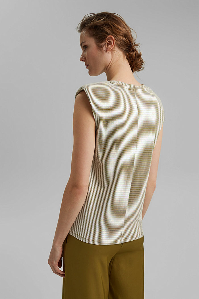 T-shirt with shoulder pads, 100% organic cotton, OLIVE COLORWAY, detail image number 3