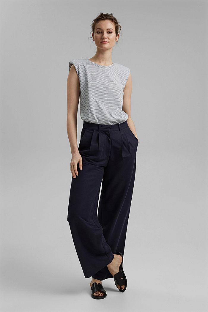 Tričko s ramenními vycpávkami, 100% bio bavlna, GREY BLUE, detail image number 1