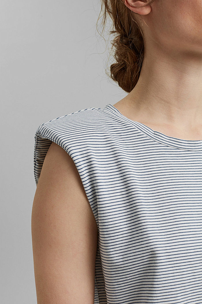 Tričko s ramenními vycpávkami, 100% bio bavlna, GREY BLUE, detail image number 2