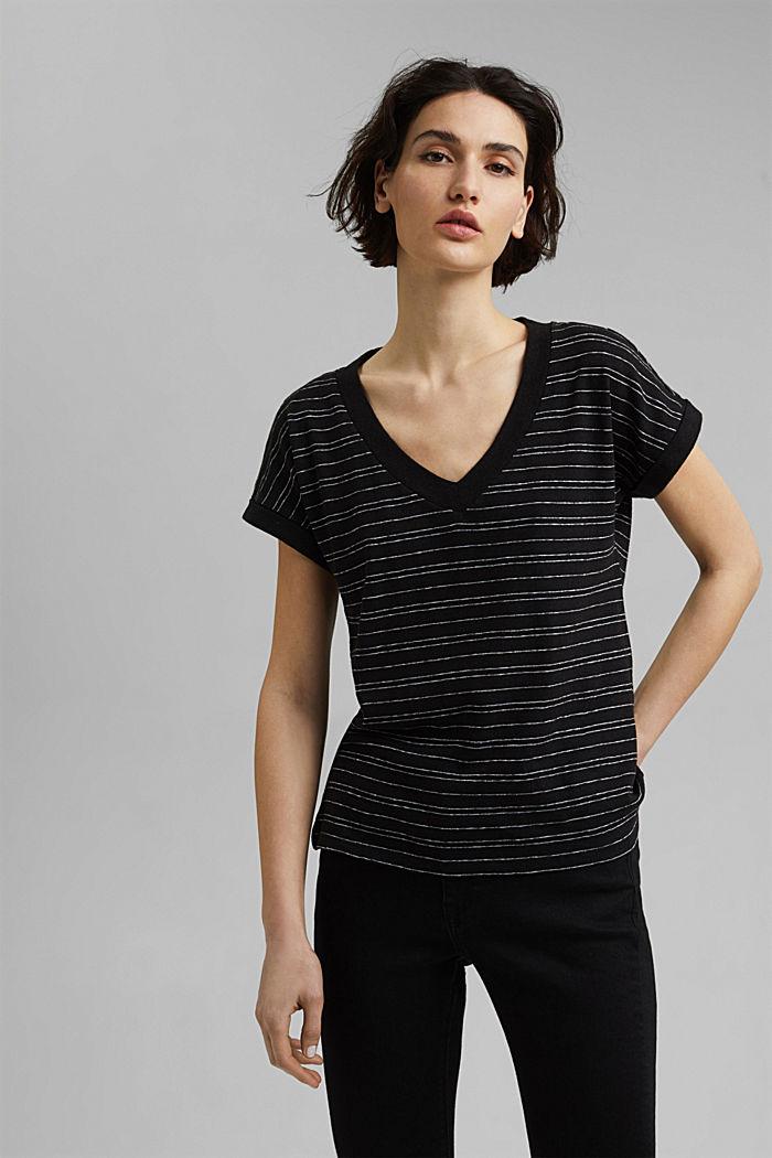 Baumwolle/Leinen: gestreiftes T-Shirt