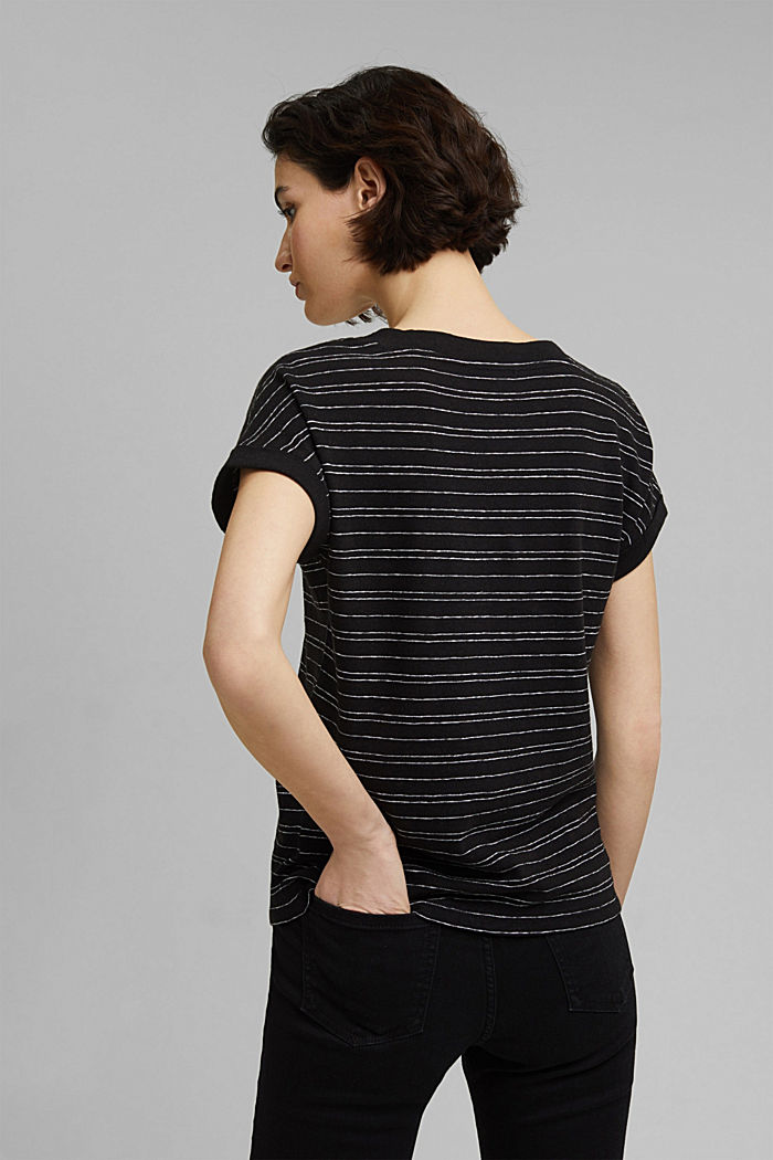 Cotton/linen: striped T-shirt, BLACK, detail image number 3