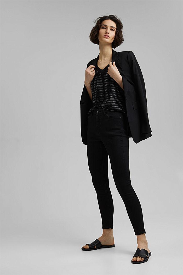 Cotton/linen: striped T-shirt, BLACK, detail image number 1