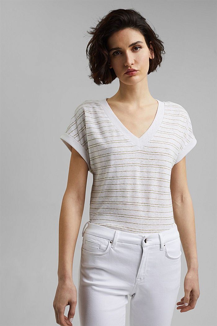 Cotton/linen: striped T-shirt, WHITE, detail image number 0