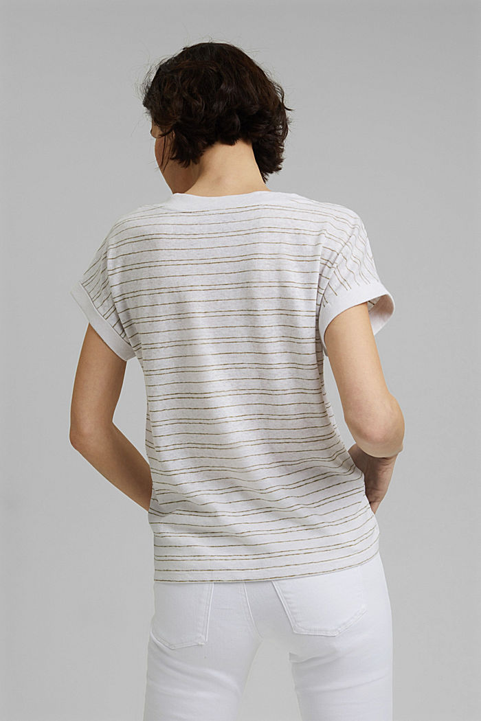 Cotton/linen: striped T-shirt, WHITE, detail image number 3