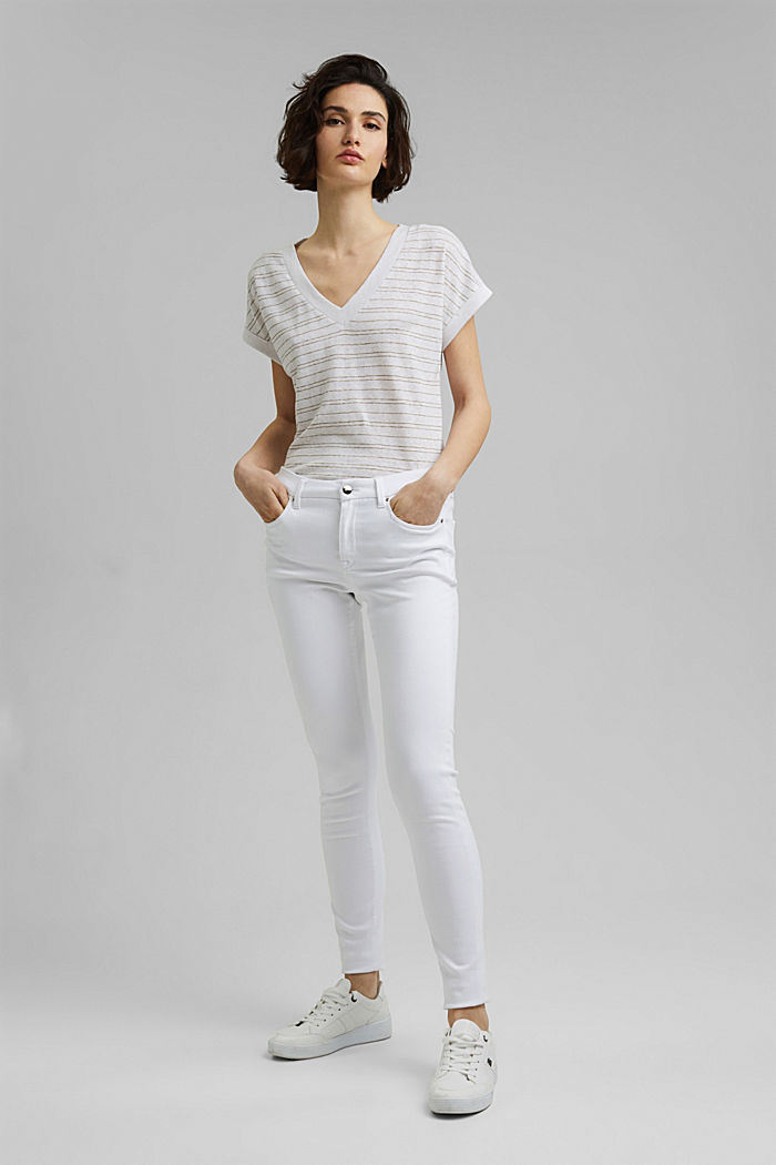 Cotton/linen: striped T-shirt, WHITE, detail image number 1