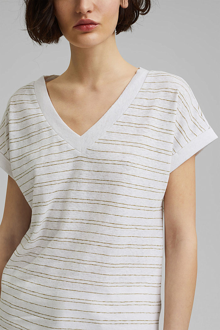Cotton/linen: striped T-shirt, WHITE, detail image number 2