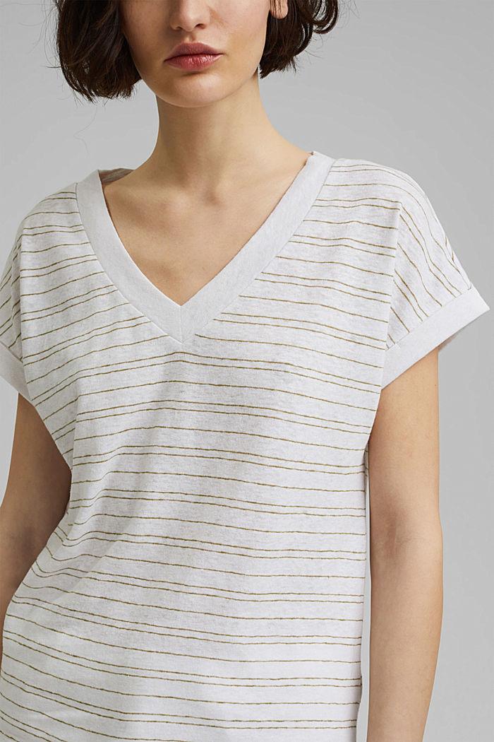 Bavlna/len: proužkované tričko, WHITE, detail image number 2