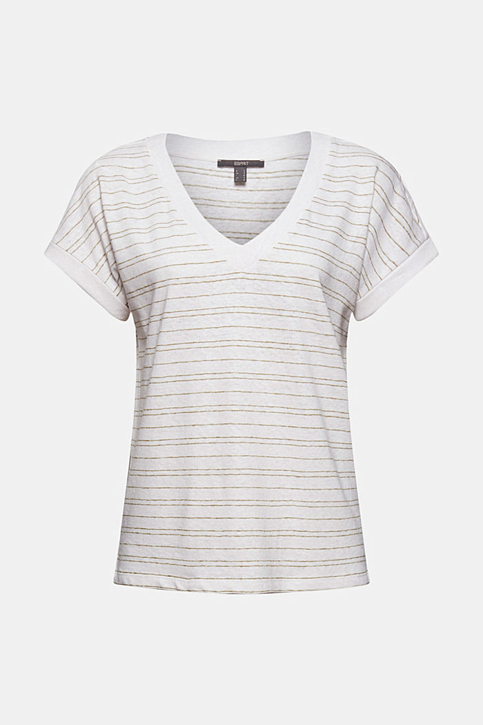 Cotton/linen: striped T-shirt, WHITE, detail image number 5