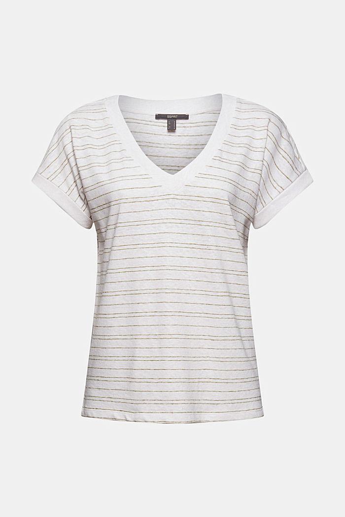 Bavlna/len: proužkované tričko, WHITE, detail image number 5