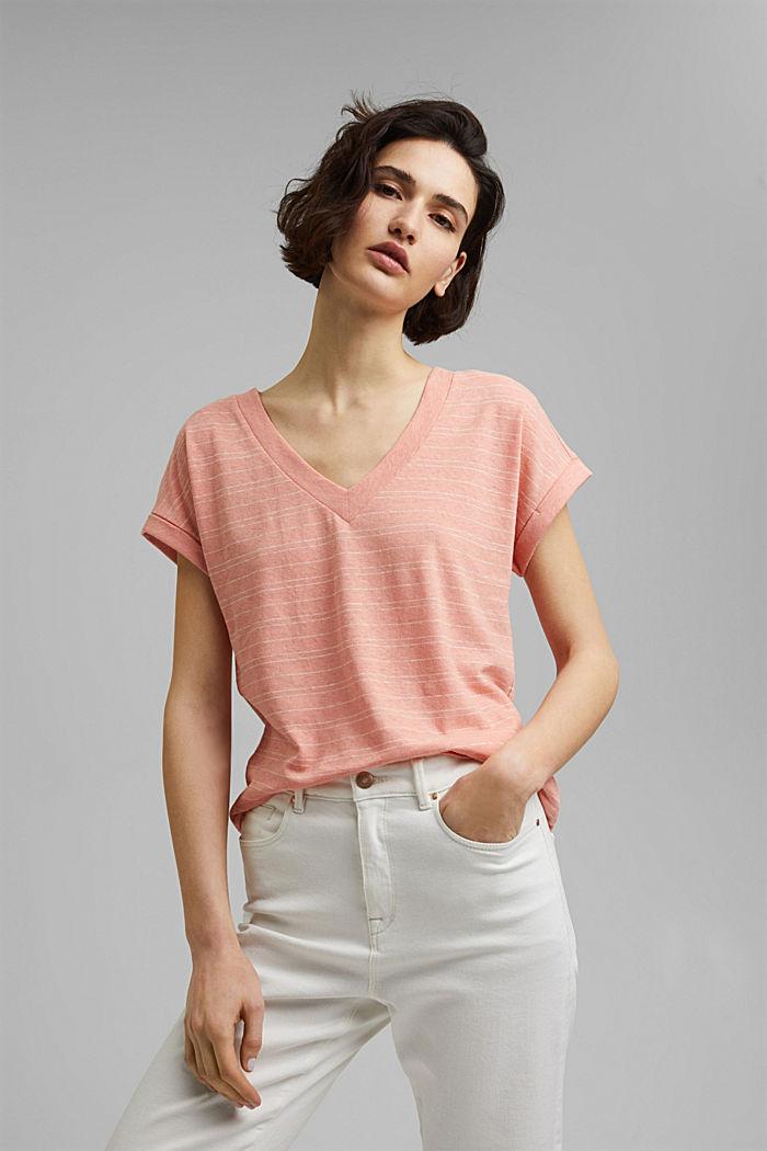 Cotton/linen: striped T-shirt