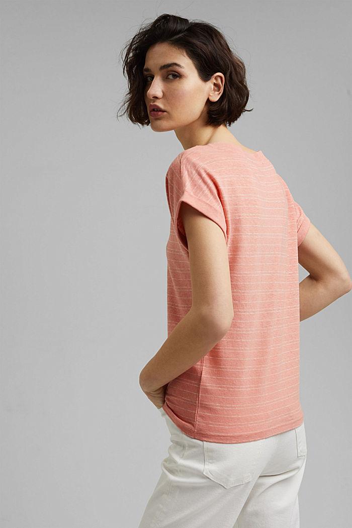 Baumwolle/Leinen: gestreiftes T-Shirt, SALMON, detail image number 3