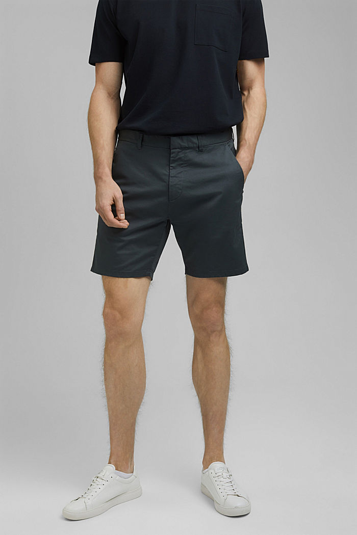 Chino-Shorts aus Bio-Baumwolle/Lycra®T400®, DARK TEAL GREEN, detail image number 0