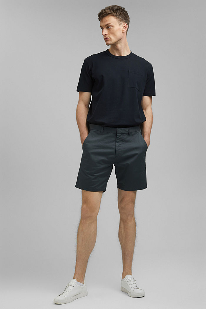 Chino-Shorts aus Bio-Baumwolle/Lycra®T400®, DARK TEAL GREEN, detail image number 1