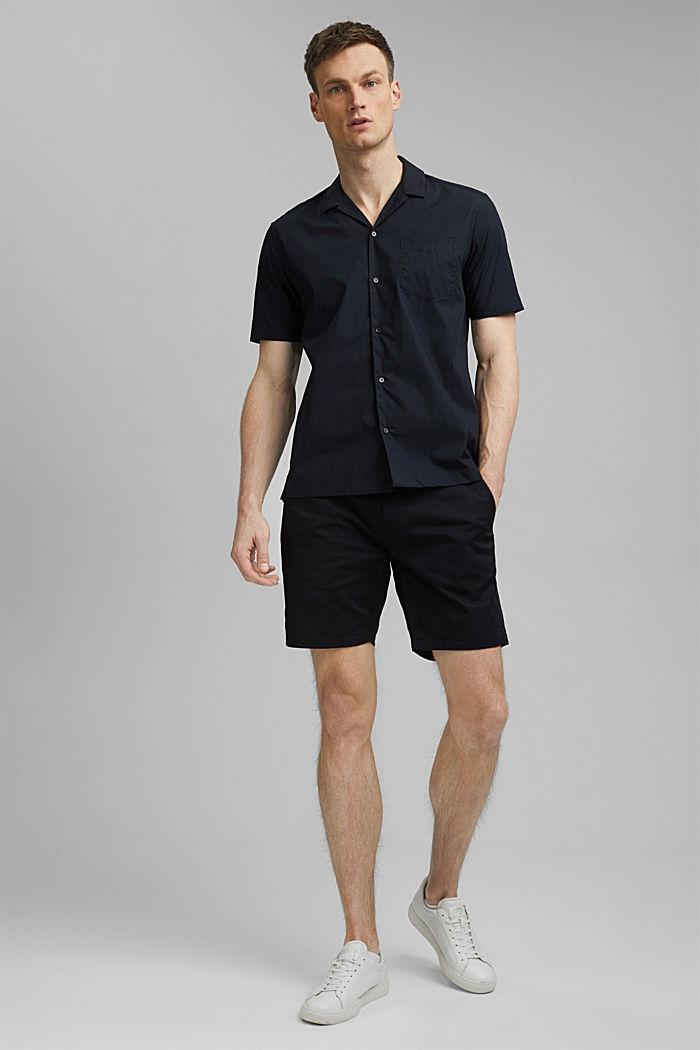 Short sleeve shirt made of 100% pima cotton, BLACK, detail image number 1